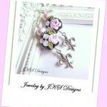 Pink Shabby Chic Rose Earrings, Lam..