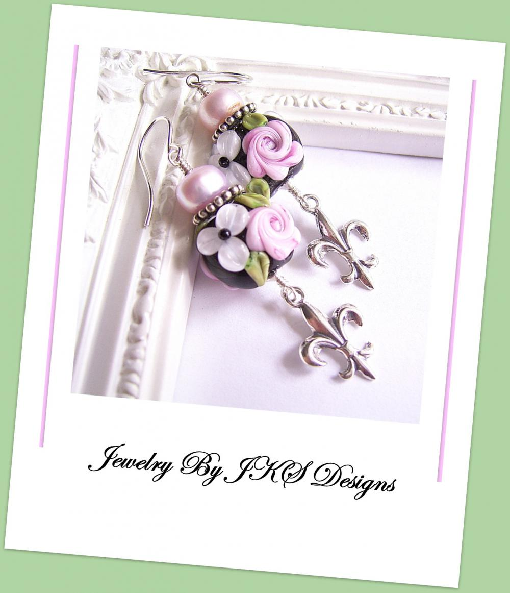 Pink Shabby Chic Rose Earrings, Lampwork Sterling Silver Fleur De Lis Floral Earrings, JKS Designs, Australia