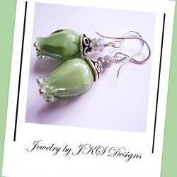 Green Tulip Earrings, Floral Lampwork Earrings, Labradorite Gemstone Earrings, Jewelry by JKS Designs
