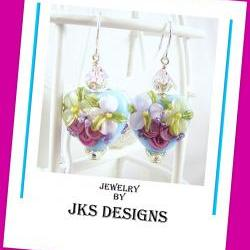 Floral Lampwork Heart Earrings, Shabby Chic Rose Pink Aqua Glass Sterling Silver Pierced Dangle, Jewelry by JKS Designs Australia